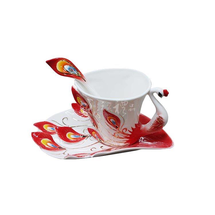 珐琅彩欧式陶瓷孔雀咖啡杯
