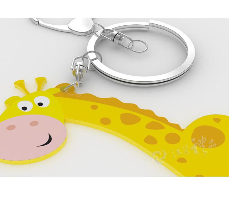 可爱卡通长颈鹿硅胶钥匙扣